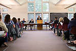 HARWINTON, CT- 17 May 2016-051716EC19-  The Board of Selectmen speak to about 75 residents who showed up to the budget meeting Tuesday night at Harwinton Town Hall. Erin Covey Republican-American