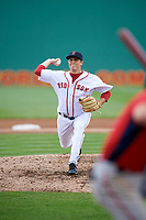 Salem Red Sox starting pitcher Jake Thompson (41) delivers a pitch during the first game of a doubleheader against the Potomac Nationals on June 11, 2018 at Haley Toyota Field in Salem, Virginia.  Potomac defeated Salem 9-4.  (Mike Janes/Four Seam Images)