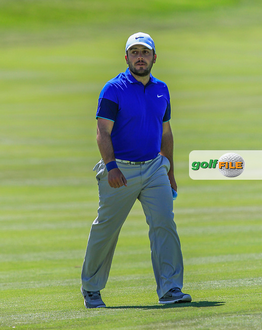 Francesco Molinari (ITA) on the 2nd fairway during Round 2 of the Open de Espana  in Club de Golf el Prat, Barcelona on Friday 15th May 2015.<br /> Picture:  Thos Caffrey / www.golffile.ie