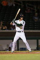 Mesa Solar Sox right fielder Skye Bolt (10), of the Oakland Athletics organization, at bat during an Arizona Fall League game against the Scottsdale Scorpions at Sloan Park on October 10, 2018 in Mesa, Arizona. Scottsdale defeated Mesa 10-3. (Zachary Lucy/Four Seam Images)
