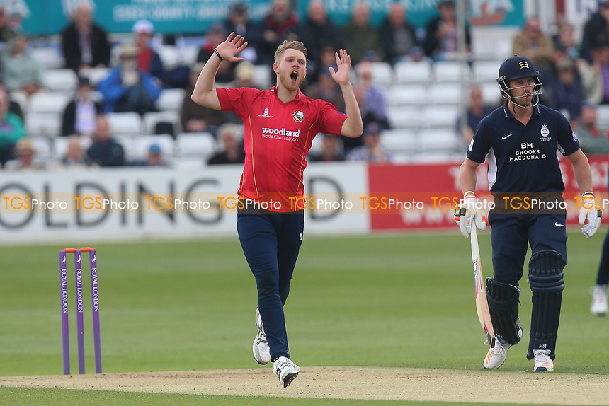 Jamie Porter of Essex goes close to a wicket during Essex Eagles vs Middlesex, Royal London One-Day Cup Cricket at The Cloudfm County Ground on 12th May 2017