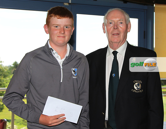 Jim McGovern (Chairman Connacht branch G.U.I) presents Allan Hill (Athenry) with his prize during the Award ceremony of the 2016 Connacht U18 Boys Open, played at Galway Golf Club, Galway, Galway, Ireland. 07/07/2016. <br /> Picture: Thos Caffrey | Golffile<br /> <br /> All photos usage must carry mandatory copyright credit   (&copy; Golffile | Thos Caffrey)