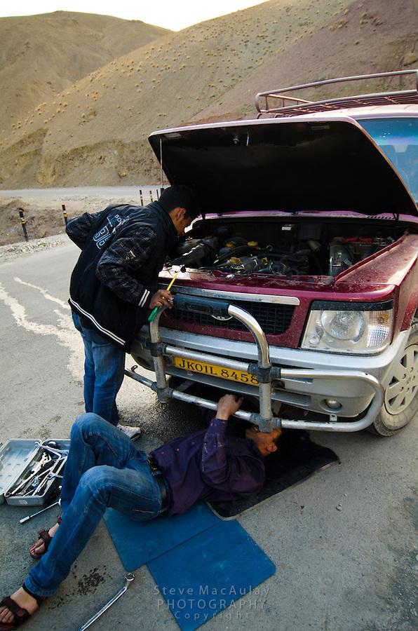 Broken water pump miles from nowhere...  along the Srinagar to Leh road, Northern India