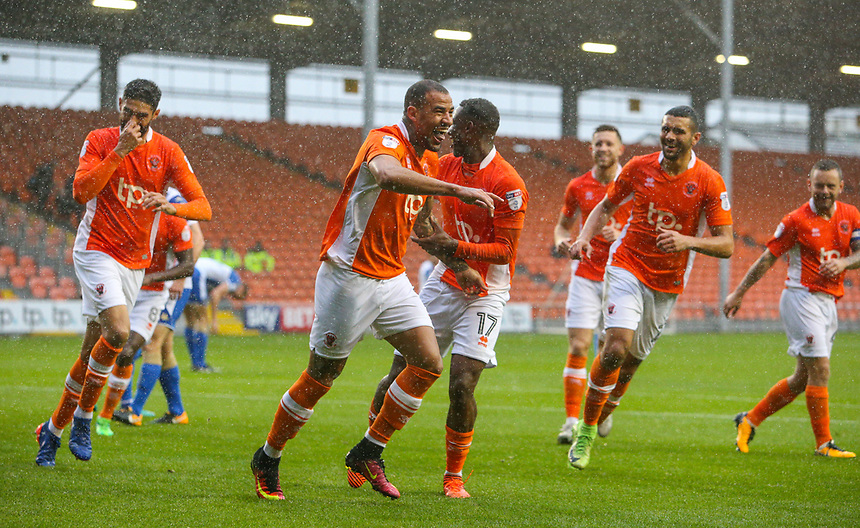 Blackpool's Kyle Vassell celebrates scoring his side's first goal with teammates<br /> <br /> Photographer Alex Dodd/CameraSport<br /> <br /> The EFL Sky Bet League One - Blackpool v Wigan Athletic - Saturday 21st October 2017 - Bloomfield Road - Blackpool<br /> <br /> World Copyright &copy; 2017 CameraSport. All rights reserved. 43 Linden Ave. Countesthorpe. Leicester. England. LE8 5PG - Tel: +44 (0) 116 277 4147 - admin@camerasport.com - www.camerasport.com