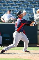 Chun-Hsih Chen of the Cleveland Indians plays against the Oakland Athletics in a spring training game at Phoenix Municipal Stadium on March 2, 2011  in Phoenix, Arizona. .Photo by:  Bill Mitchell/Four Seam Images.