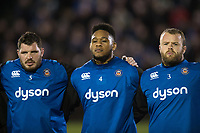 A general view of the Bath Rugby team lined up during a pre-match ceremony to mark Remembrance Day weekend. Anglo-Welsh Cup match, between Bath Rugby and Leicester Tigers on November 10, 2017 at the Recreation Ground in Bath, England. Photo by: Patrick Khachfe / Onside Images