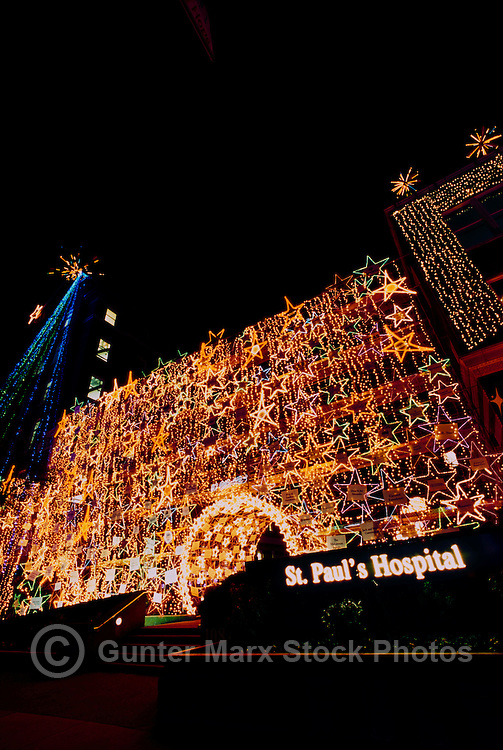 "Vancouver, BC, British Columbia, Canada - Colourful Christmas / Xmas Lights Decoration at St. Paul's Hospital, ""Lights of Hope"" Fundraising Campaign, Winter Night"