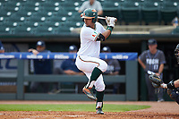Christopher Barr (17) of the Miami Hurricanes at bat against the Georgia Tech Yellow Jackets during game one of the 2017 ACC Baseball Championship at Louisville Slugger Field on May 23, 2017 in Louisville, Kentucky. The Hurricanes walked-off the Yellow Jackets 6-5 in 13 innings. (Brian Westerholt/Four Seam Images)