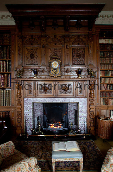 The chimneypiece in the library, which was created out of two rooms off the entrance hall by the bibliophile Victorian laird in 1868