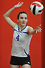 Megan Pfundstein #4 of Kellenberg serves a ball into play during a CHSAA varsity girls volleyball match against host Sacred Heart Academy in Hempstead on Tuesday, Oct. 4, 2016. Kellenberg won the match 3-0.