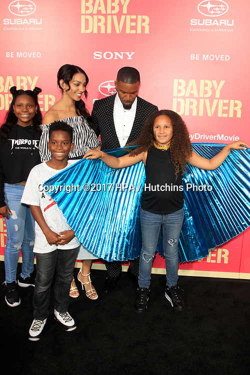 """LOS ANGELES - JUN 14:  Corinne Bishop, Jamie Foxx, Annelise Bishop at the """"Baby Driver"""" Premiere at the The Theater at Ace Hotel on June 14, 2017 in Los Angeles, CA"""