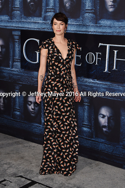 HOLLYWOOD, CA - APRIL 10: Actress Lena Headey arrives at the premiere of HBO's 'Game of Thrones' Season 6 at the TCL Chinese Theatre on April 10, 2016 in Hollywood, California.