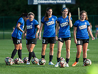 Kansas City, MO - Sunday July 02, 2017:  Alexa Newfield, Erika Tymrak, Brittany Taylor, Caroline Flynn and Sydney Leroux await the turn at shooting drills before a regular season National Women's Soccer League (NWSL) match between FC Kansas City and the Houston Dash at Children's Mercy Victory Field.