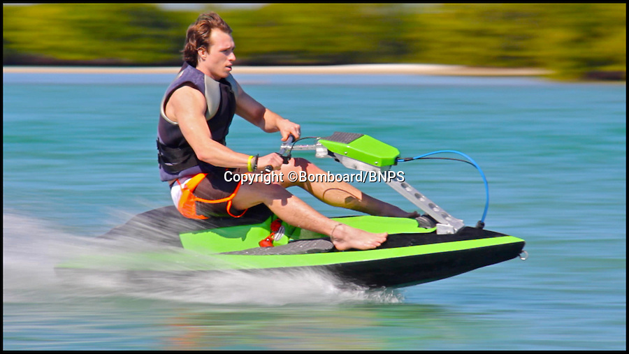 BNPS.co.uk (01202 558833)<br /> Pic: Bomboard/BNPS<br /> <br /> ***Please use full byline***<br /> <br /> The jetski in action. <br /> <br /> This nifty jetski is set to make a splash - because it is the first in the world that can be dismantled and packed into a car boot.<br /> <br /> The clever contraption, called the Bomboard, is made up of four parts which snap together in 60 seconds to make a machine capable of blistering speeds of over 40mph over the water.<br /> <br /> And where normal jetskis can set buyers back up to &pound; 15,000, the BomBoard costs just &pound;2,000.<br /> <br /> The budget jetski is the first in the world that can be taken apart and transported in the boot of a car, eliminating the need for a trailer.<br /> <br /> It is the brainchild of John West, a watersports enthusiast and entrepreneur from Chicago who was determined to make jetskiing more accessible.<br /> <br /> The BomBoard is due to hit the water in 2015.