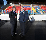 Cowdenbeath Chairman Donald Findlay and manager Jimmy Nicholl at Central Park after the referee deems the pitch unplayable and calls off the Rangers match