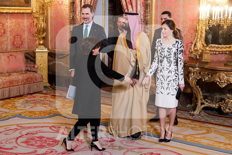 Vice President Soraya Saenz de Santamaria, Queen Letizia of Spain and King Felipe VI of Spain before lunch in honor of Arabia Saudi heir prince, Mohámed bin Salmán at Royal Palace in Madrid, Spain. April 12, 2018. (ALTERPHOTOS/Borja B.Hojas)