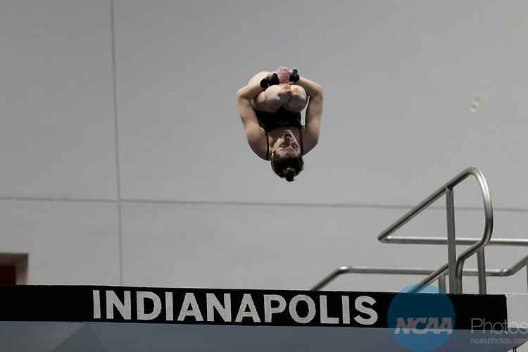 INDIANAPOLIS, IN - MARCH 18: Cali Head of Iowa dives in the platform diving event during the Division I Women's Swimming & Diving Championships held at the Indiana University Natatorium on March 18, 2017 in Indianapolis, Indiana. (Photo by A.J. Mast/NCAA Photos via Getty Images)