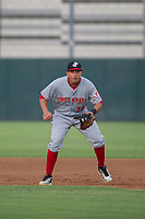 AZL Reds first baseman Raul Juarez (38) on defense against the AZL Athletics on July 16, 2017 at Lew Wolff Training Complex in Mesa, Arizona. AZL Athletics defeated the AZL Reds 13-5. (Zachary Lucy/Four Seam Images)