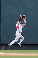 Houston Cougars outfielder Michael Pyeatt (2) attempts to make a running catch during the NCAA Super Regional baseball game against the Texas Longhorns on June 7, 2014 at UFCU DischFalk Field in Austin, Texas. The Longhorns are headed to the College World Series after they defeated the Cougars 4-0 in Game 2 of the NCAA Super Regional. (Andrew Woolley/Four Seam Images)