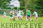 Maurice O'Keeffe St Kierans and Sam O'Dwyer South Kerry contest the loose ball during the Champioship s/f in Killlorglin