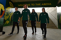 20180228 - LARNACA , CYPRUS :  referees pictured with French Florence Guillemin , French Elodie Coppola , French Solenne Bartnik and Czech Lucie Ratajova during a women's soccer game between Spain and the Belgian Red Flames , on friday 2 March 2018 at the AEK Arena in Larnaca , Cyprus . This is the second  game in group B for  Belgium during the Cyprus Womens Cup , a prestigious women soccer tournament as a preparation on the World Cup 2019 qualification duels. PHOTO SPORTPIX.BE | DAVID CATRY