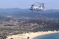 - military polygon of cape Teulada (Sardinia), US Marines CH 46 helicopter....- poligono militare di Capo Teulada (Sardegna), elicottero CH 46 dei Marines USA
