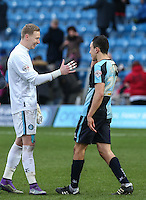 Goalkeeper Ryan Allsop of Wycombe Wanderers with the goal scorer Luke O'Nien of Wycombe Wanderers during the Sky Bet League 2 match between Wycombe Wanderers and Bristol Rovers at Adams Park, High Wycombe, England on 27 February 2016. Photo by Andrew Rowland.