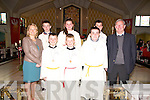 Abbeyfeale Confirmation : Pupils from Knocknasna National School, Abbeyfeale with their teachers Miss Woulfe & Mr. Pat O'Callaghan who were confirmed by Bishop of Limerick Brendan Leahy at Abbeyfeale church on Friday last.