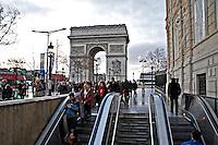 People entering the Metro station at the Arc de Triomphe Paris..©shoutpictures.com.john@shoutpictures.com
