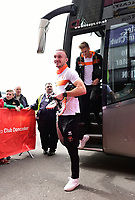 Blackpool's Tom Aldred gets off the team coach<br /> <br /> Photographer Chris Vaughan/CameraSport<br /> <br /> The EFL Sky Bet League Two - Doncaster Rovers v Blackpool - Keepmoat Stadium - Doncaster<br /> <br /> World Copyright &copy; 2017 CameraSport. All rights reserved. 43 Linden Ave. Countesthorpe. Leicester. England. LE8 5PG - Tel: +44 (0) 116 277 4147 - admin@camerasport.com - www.camerasport.com