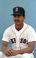 Boston Red Sox Luis Rivera poses for a photo during spring training circa 1989 at Chain of Lakes Park in Winter Haven, Florida.  (MJA/Four Seam Images)