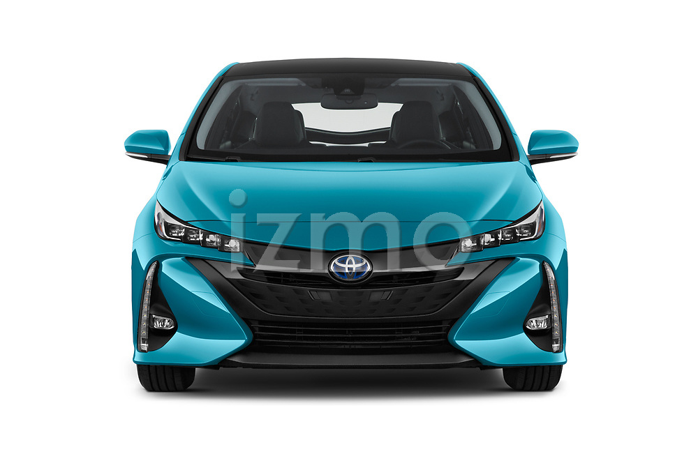Car photography straight front view of a 2017 Toyota Prius Plug-in Hybride Solar 5 Door Hatchback