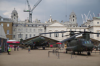 Dakota fixed wing transport of 1940s and Chinook rotary wing transport 2010s<br /> RAF100 Aircraft Tour: aircraft of the UK RAF / Royal Air Force on display on Horse Guards Parade in front of the Admiralty House, London, England on 6-9 July 2018.<br /> CAP/SDL<br /> &copy;Stephen Loftus/Capital Pictures
