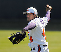 Clemson RHP Tomas Cruz (44) prior to a game between the Charlotte 49ers and Clemson Tigers Feb. 22, 2009, at Doug Kingsmore Stadium in Clemson, S.C. (Photo by: Tom Priddy/Four Seam Images)