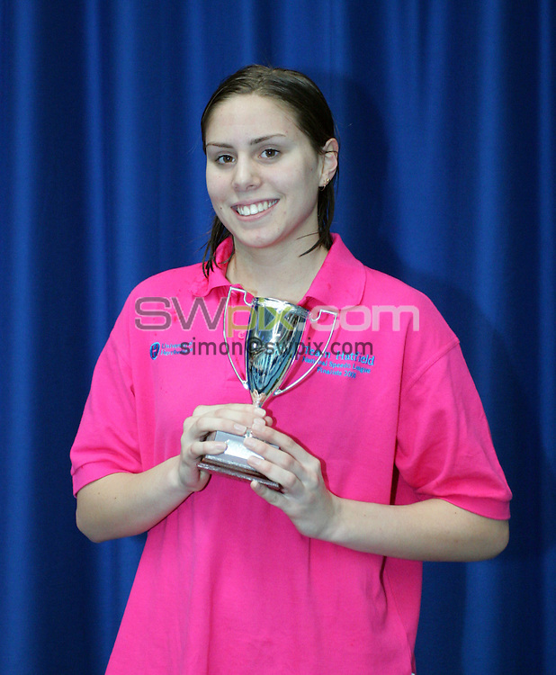Pix by BEN DUFFY/SWpix.com......Speedo League swimming A final......23/04/06..Picture Copyright >> Simon Wilkinson >> 07811267706..Rachael George receives her award for top female swimmer