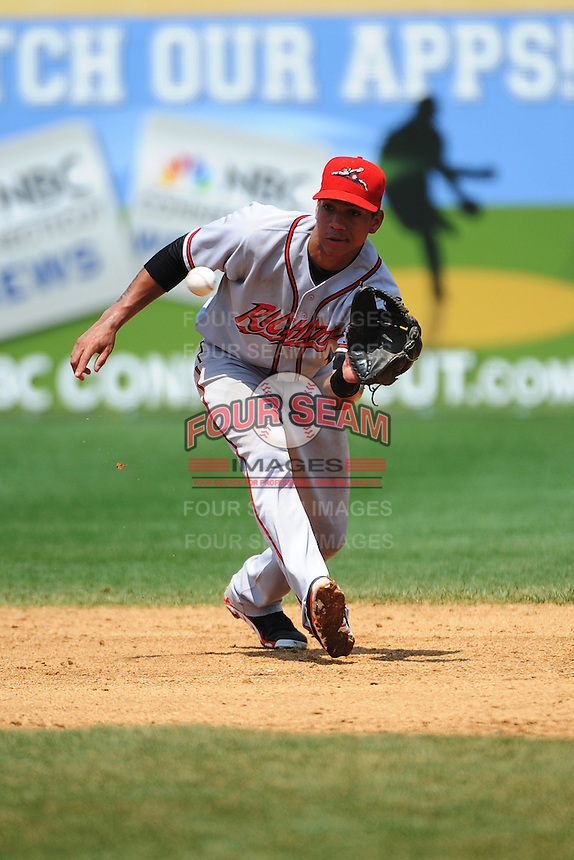 Richmond Flying Squirrels infielder  Ehire Adrianza (1) during game against the New Britain Rock Cats at New Britain Stadium on May 30, 2013 in New Britain, CT.  New Britain defeated Richmond 2-1.  (Tomasso DeRosa/Four Seam Images)