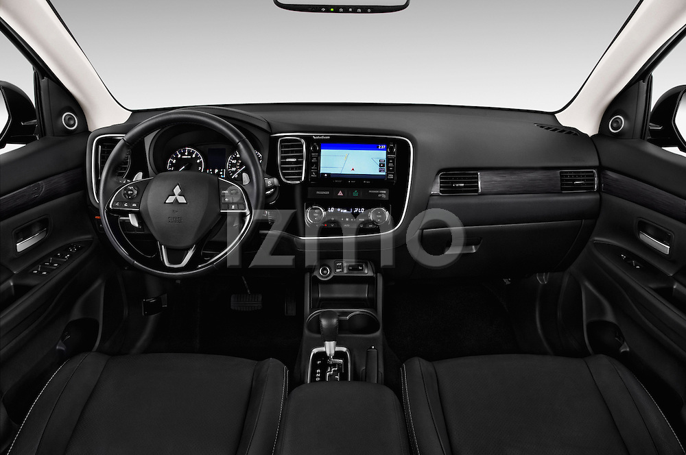 Stock photo of straight dashboard view of 2016 Mitsubishi Outlander GT 5 Door SUV Dashboard