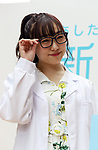 """April 6, 2018, Tokyo, Japan - Japan's girls pop group SKE48 member Akari Suda attends a promotional event for newspapers in Tokyo as a part of Newspaper Week on Friday, April 6, 2018. Nihon Shimbun Kyokai hold a three-day educational campaign of their newspapers for students """"Newspaper Campus 2018"""".  (Photo by Yoshio Tsunoda/AFLO) LWX -ytd-"""