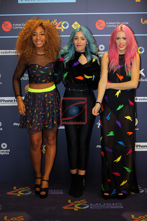 Los 40 MUSIC Awards 2016 - Photocall.<br /> Tamy Nsue, Sonia Gomez &amp; Alba Reig (Sweet California).