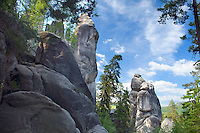 Adrspach, Giant Mountains, Northern Bohemia, Czech Republic, June 2010. The area between Teplice and Adrspach is shaped by vertical sandstone rock formations, waterfalls and creeks and dense forest. The area around Teplice, also known as the Broumovsky Steny, was inhabited by ethnic Sudeten Germans, that were deported after the Second World War. The rural landscape with green fields and cattle is dotted with little villages scarred by communist socialist architecture. Photo by Frits Meyst/Adventure4ever.com