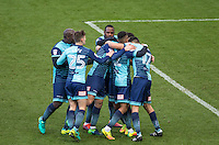 Celebrations as penalty goalscorer Joe Jacobson of Wycombe Wanderers celebrates with teammates during the Sky Bet League 2 match between Wycombe Wanderers and Yeovil Town at Adams Park, High Wycombe, England on 14 January 2017. Photo by PRiME Media Images.