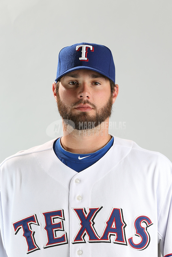 Feb. 20, 2013; Surprise, AZ, USA: Texas Rangers pitcher Randy Wells poses for a portrait during photo day at Surprise Stadium. Mandatory Credit: Mark J. Rebilas-
