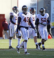 Nov 27, 2010; Charlottesville, VA, USA;  Virginia Cavaliers cornerback Mike Parker (43) during the game at Lane Stadium. Virginia Tech won 37-7. Mandatory Credit: Andrew Shurtleff