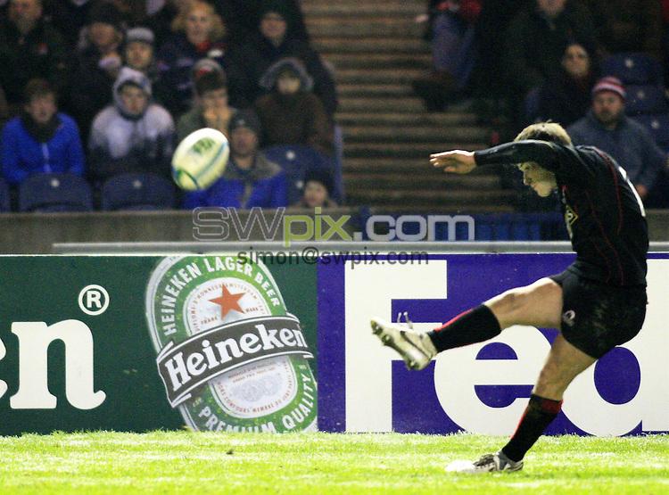 Pix: Chris Mangnall/SWpix.com, Rugby Union, Heineken Cup. 12/01/08. Edinburgh v Leicester....picture copyright>>simon wilkinson>>07811267 706>>....Edinburgh's Phil Godman converts