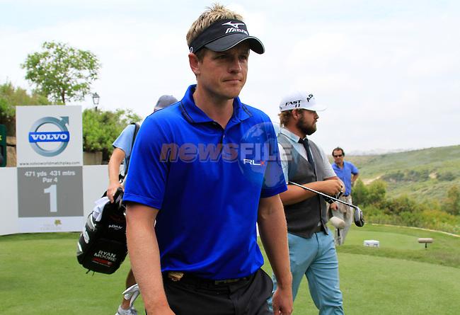Luke Donald (ENG) after teeing off on the 1st tee during Day 1 of the Volvo World Match Play Championship in Finca Cortesin, Casares, Spain, 19th May 2011. (Photo Eoin Clarke/Golffile 2011)
