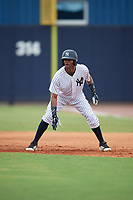 GCL Yankees East Sandy Mota (11) leads off during a Gulf Coast League game against the GCL Phillies East on July 31, 2019 at Yankees Minor League Complex in Tampa, Florida.  GCL Phillies East defeated the GCL Yankees East 4-3 in the second game of a doubleheader.  (Mike Janes/Four Seam Images)