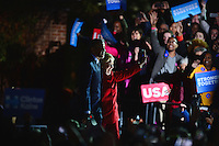 Philadelphia, PA - November 7, 2016: Democratic presidential candidate Hillary Clinton and President Barack Obama acknowledge supporters during a campaign rally at Independence Hall in Philadelphia, PA, November 7, 2016.  (Photo by Don Baxter/Media Images International)