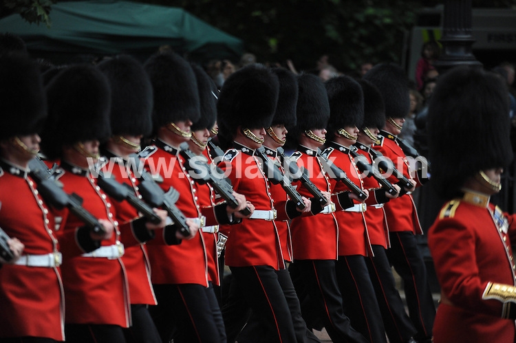 **ALL ROUND PICTURES FROM SOLARPIX.COM**                                             **WORLDWIDE SYNDICATION RIGHTS**                                                                                  Caption: The annual Trooping the Colour ceremon on June 11, 2011 in London, England. The ceremony of Trooping the Colour is believed to have first been performed during the reign of King Charles II. In 1748, it was decided that the parade would be used to mark the official birthday of the Sovereign. More than 600 guardsmen and cavalry make up the parade, a celebration of the Sovereign's official birthday, although the Queen's actual birthday is on 21 April.                                                                              This pic:Atmoshere                                                                                              JOB REF:13548        LNJ       DATE: 11.06.2011                                                           **MUST CREDIT SOLARPIX.COM OR DOUBLE FEE WILL BE CHARGED**                                                                      **MUST AGREE FEE BEFORE ONLINE USAGE**                               **CALL US ON: +34 952 811 768 or LOW RATE FROM UK 0844 617 7637**