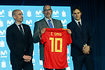 The President of RFEF Luis Rubiales (l), President of Telefonica Spain Emilio Gayo (c) and the coach of the national soccer team of Spain, Julen Lopetegui, during the presentation of the list of players for the Russian World Cup 2018. May 21,2018. (ALTERPHOTOS/Acero)