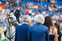 NZL-Jonelle Price rides Faerie Dianimo, with  Charlie Milligan, during the SAP Cup - CICO4*-S Nations Cup Eventing Prizegiving. 2019 GER-CHIO Aachen Weltfest des Pferdesports. Saturday 20 July. Copyright Photo: Libby Law Photography